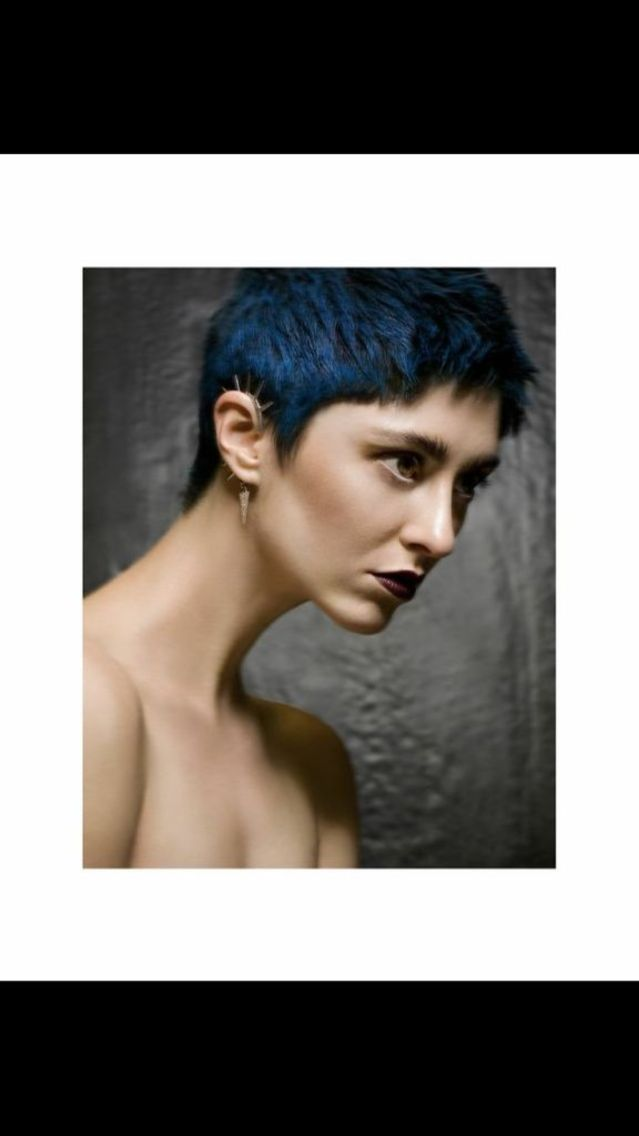 blue hair beauty shoot
