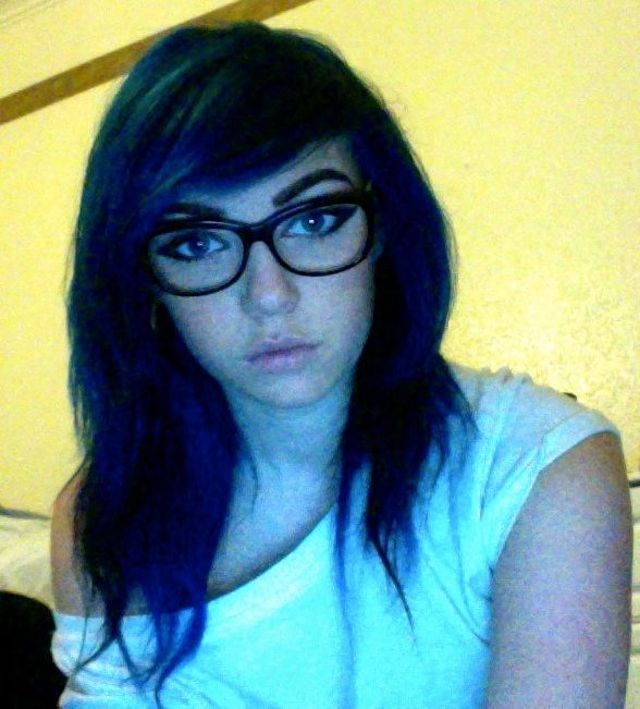 blue hair, looks black.