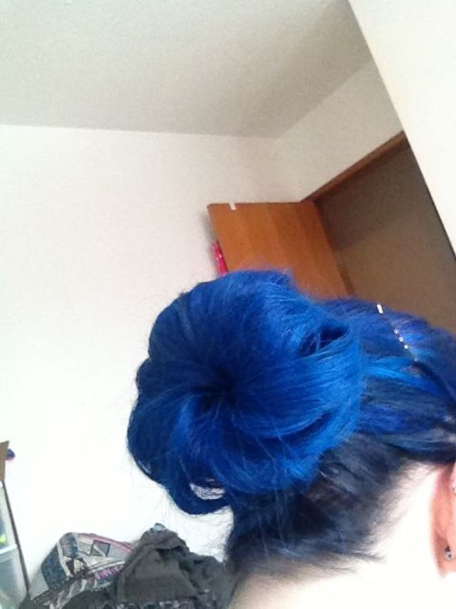 blue hair. sock bun.