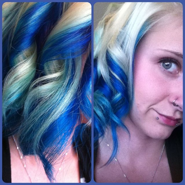blue white curls