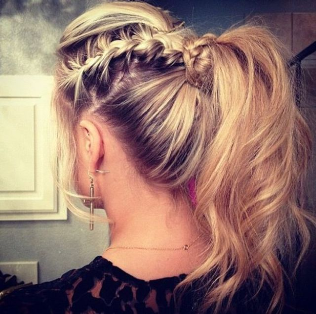braid and messy ponytail.