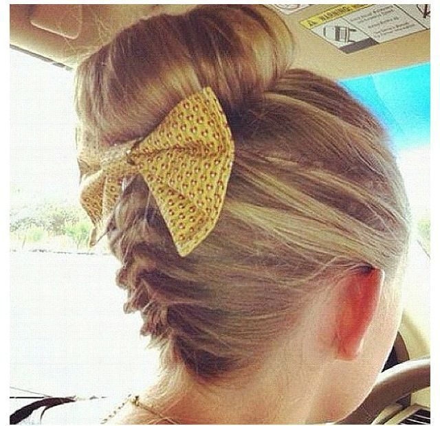 braided bun with bow