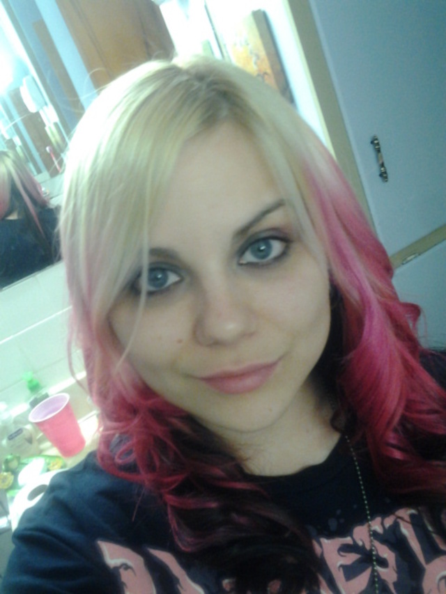 blonde, pink and black