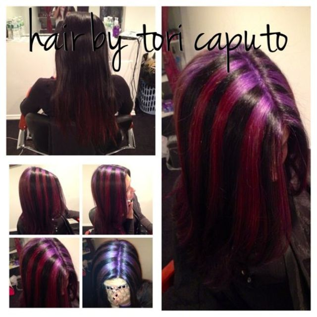 chunky purple highlights