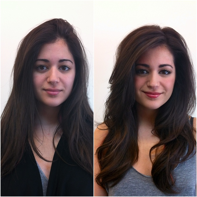 Before and After of Hair and Makeup.