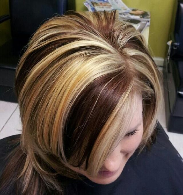 copper lowlights/golden blonde highlights