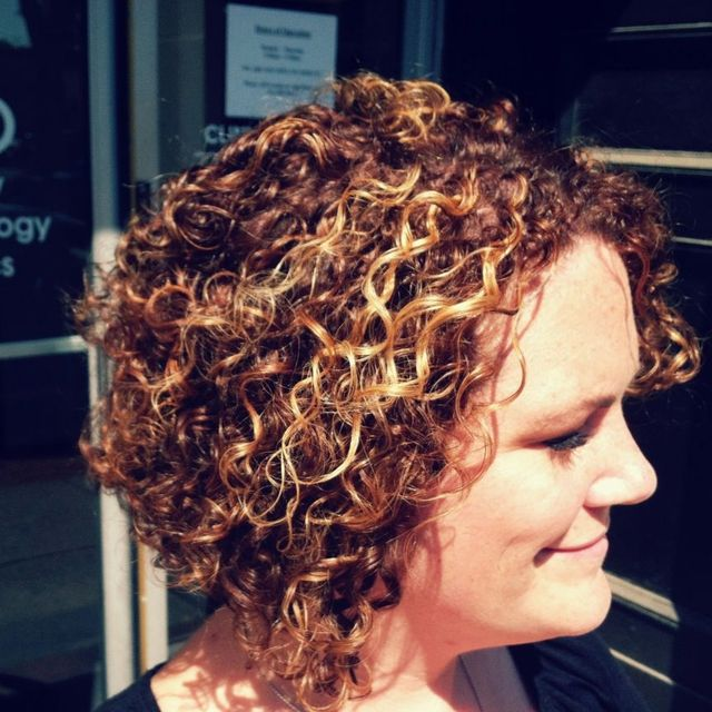 curly hair cut and color