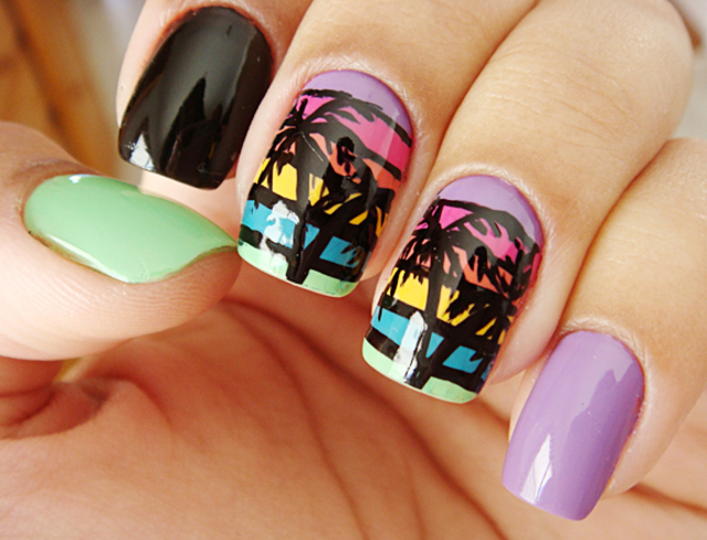 coachella-nail-art-palm-trees