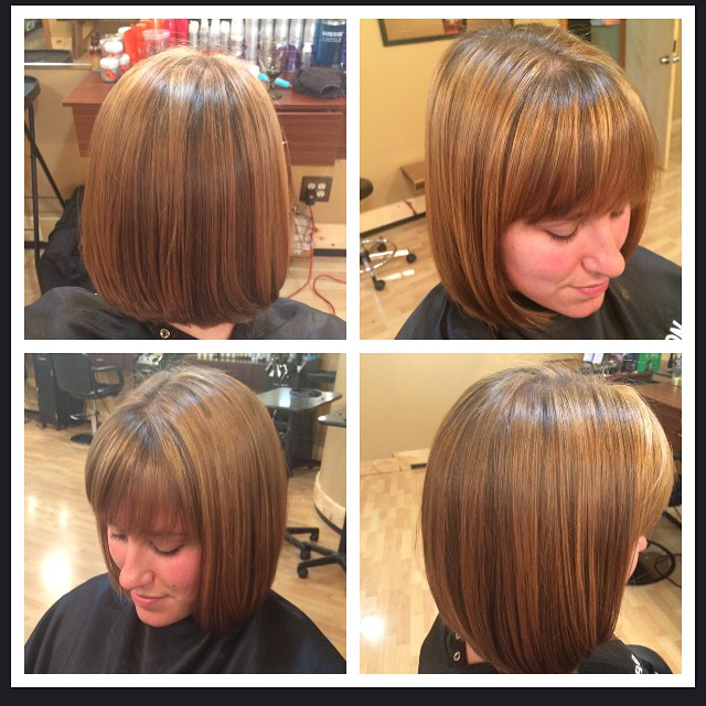 Soft highlight and a straight bob with bangs