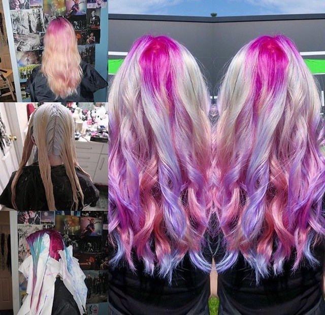 Magical unicorn hair before vs after hair transformation