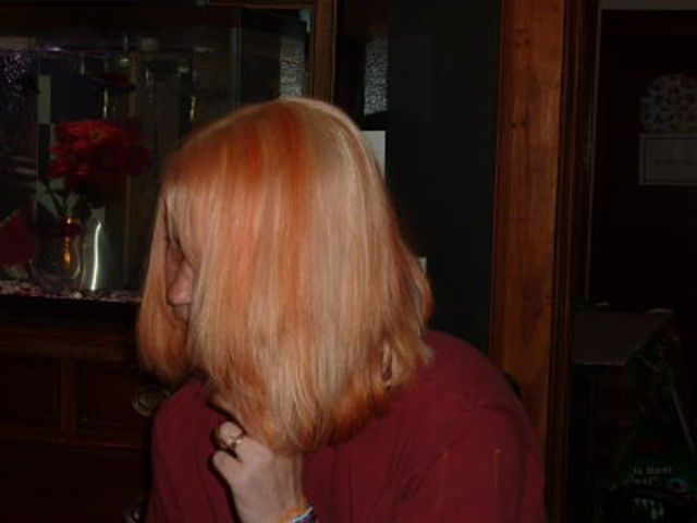 blonde with peach hilites