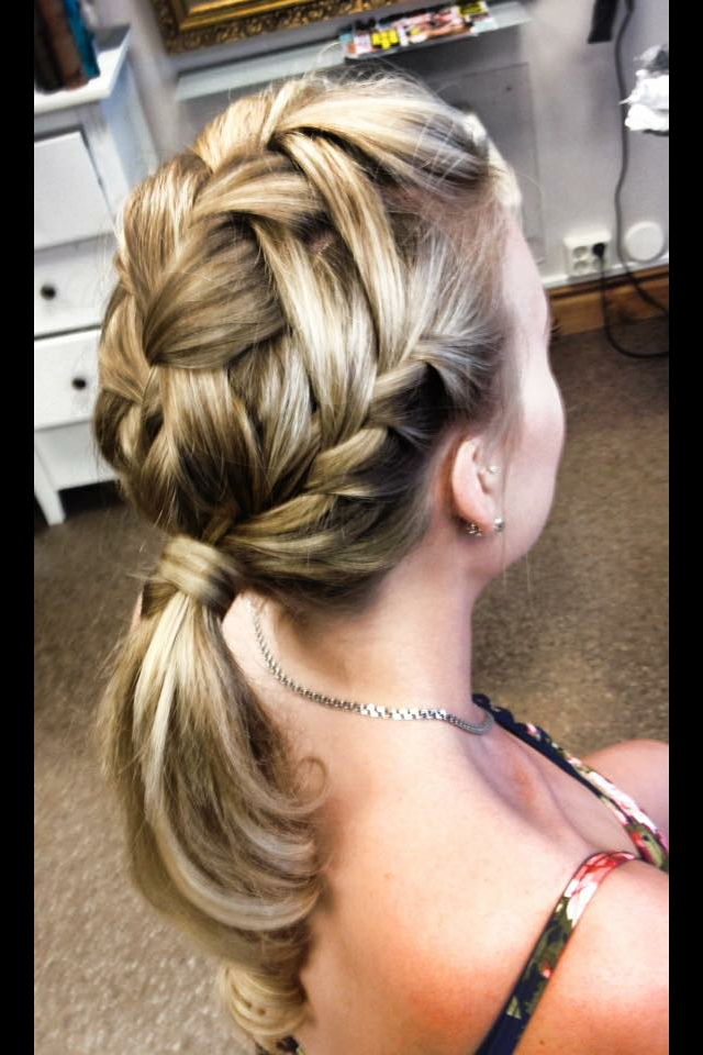 A french waterfallbraid into a ponytail.