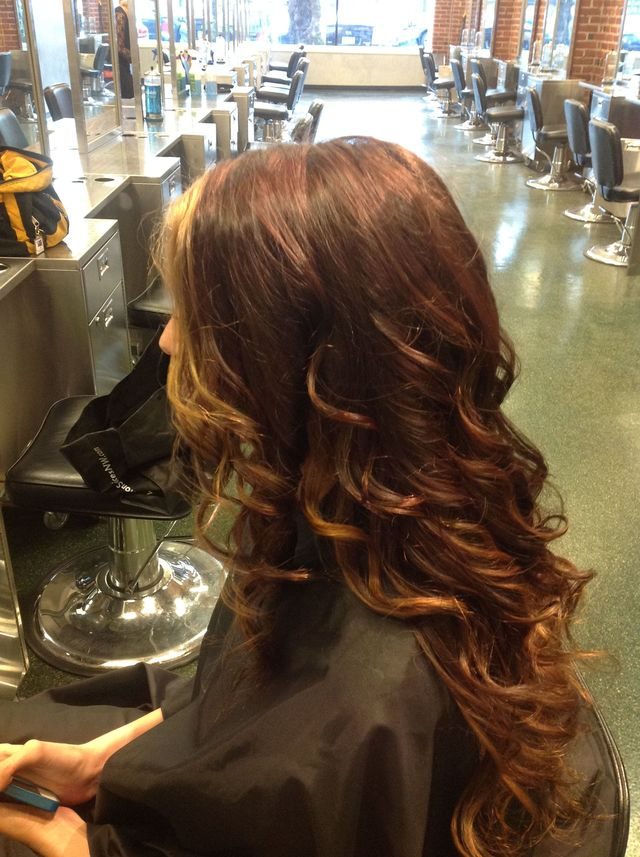 dark red head with highlights