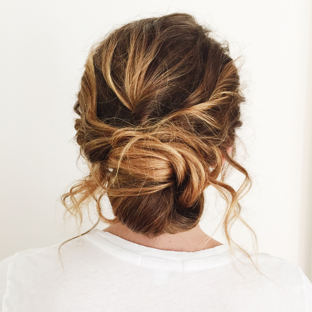 Shoulder length updo for Style me Pretty