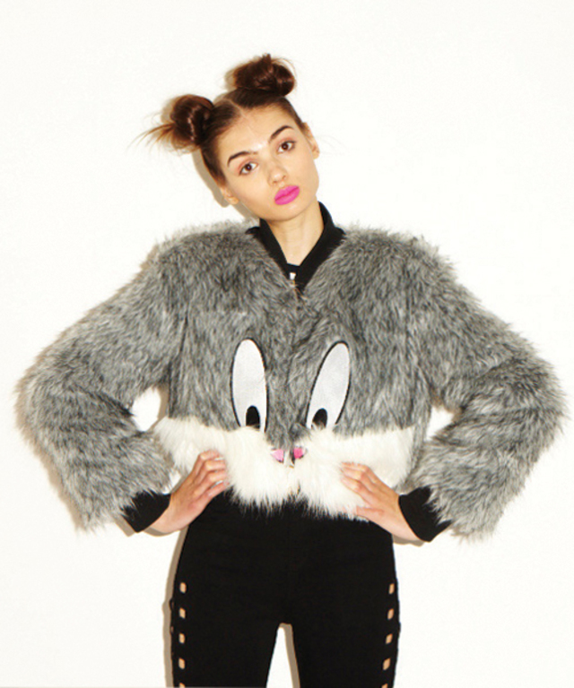 AWESOME double bun hairstyle on Lazy Oaf model