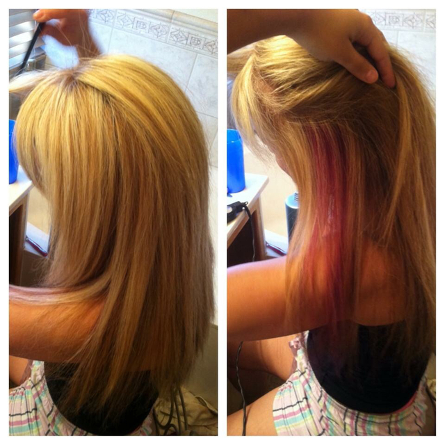 Blonde with peek-a-boo highlights