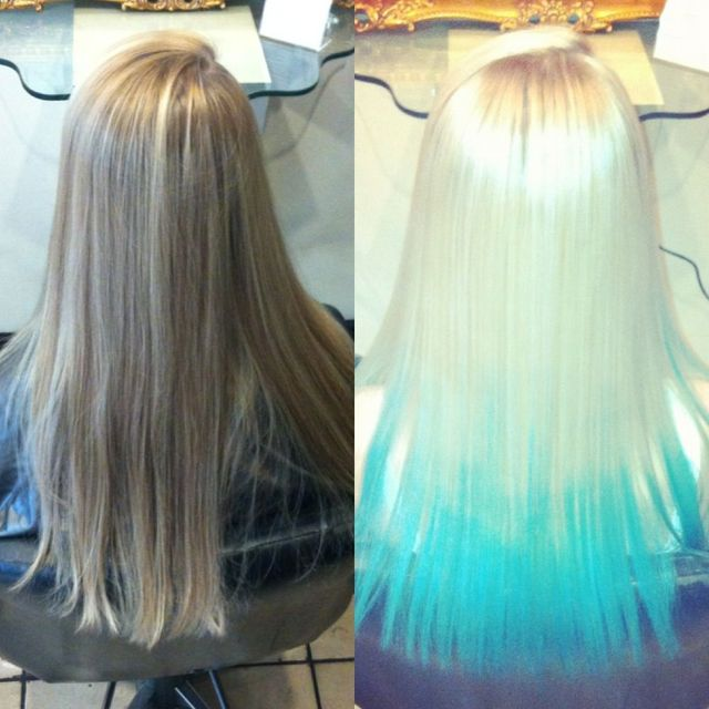 dip dye blonde to blue long straight