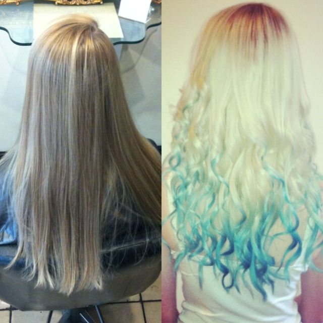 dip dye curly blonde to blue