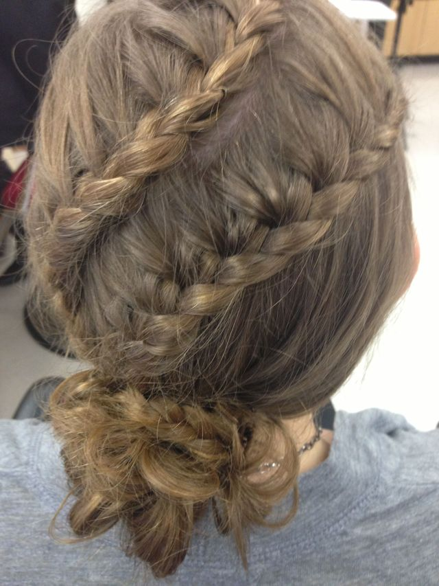 double braid with a messy bun updo