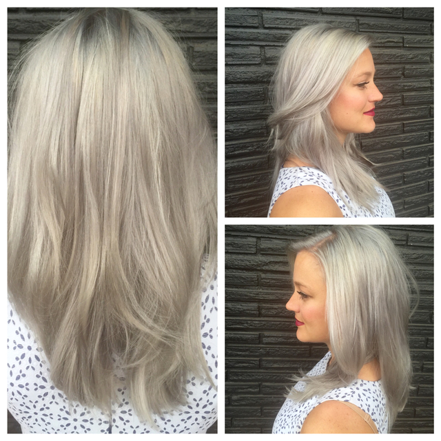 A beautiful gray!  Color, cut and style by Katie Lucas