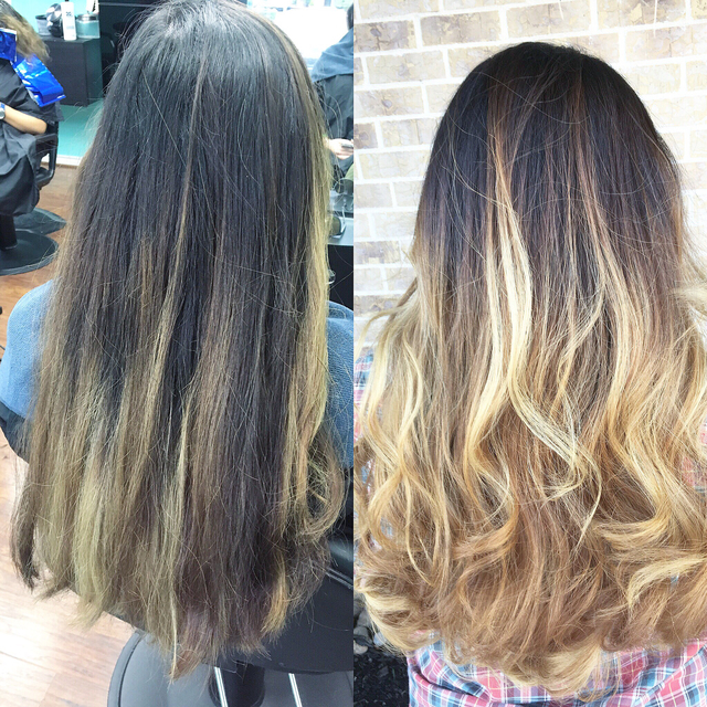Corrective Balayage ombre- first session.