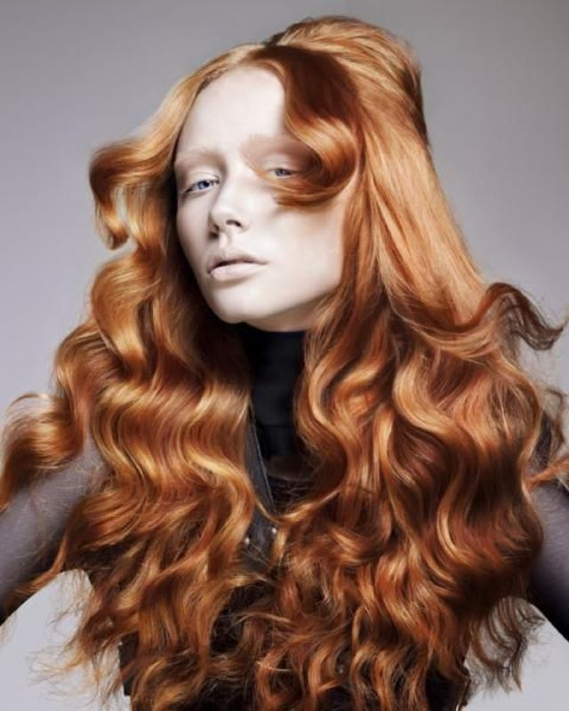 Long Wavy Copper Hair