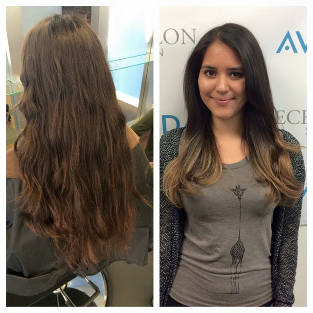 Before & after ombre