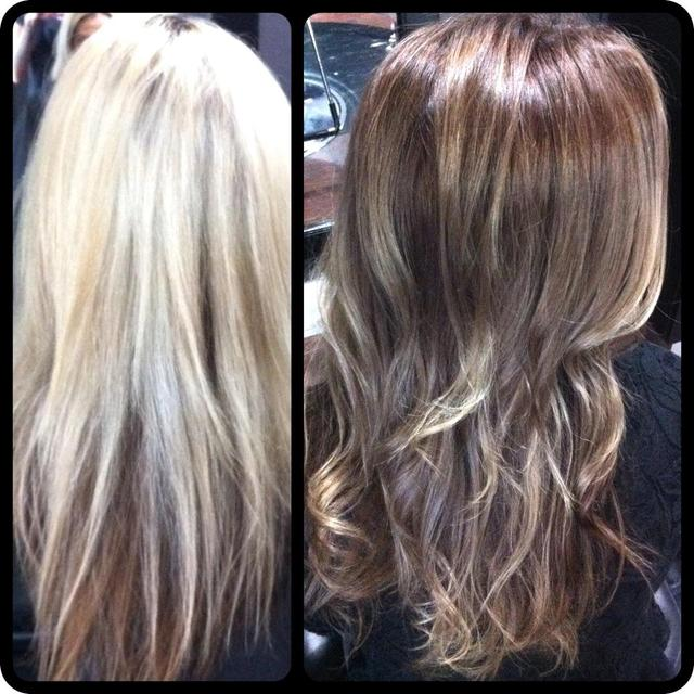 bleach blonde to natural Ombre