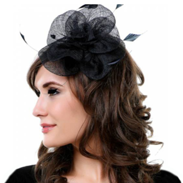 Unique Vintage Black Rose & Feathers Fascinator
