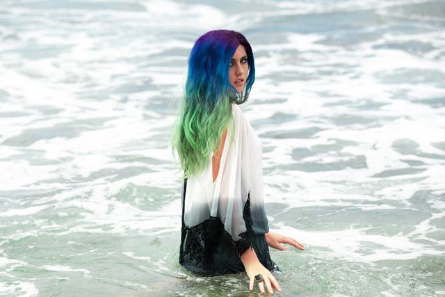 Beach Editorial Pastel Balayage - Purple to Mint
