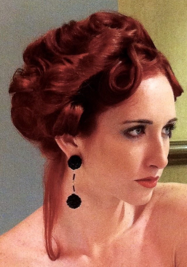 Photo shoot blonde to red updo