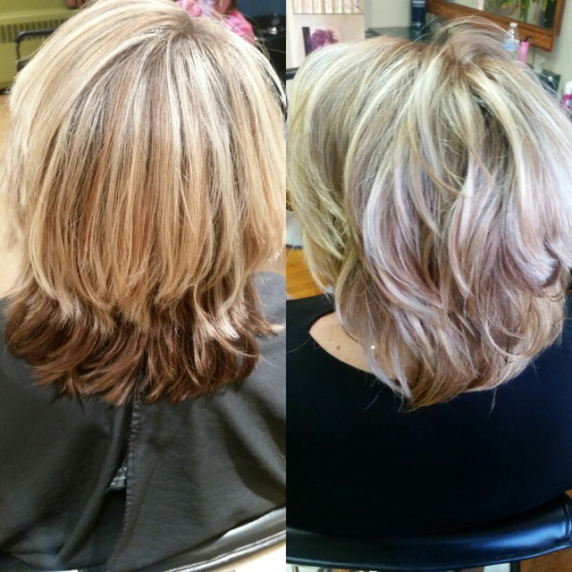 Another view of before and after. Root color and balayage . Perfect, natural, summer look ! #hairbyallie #balayage