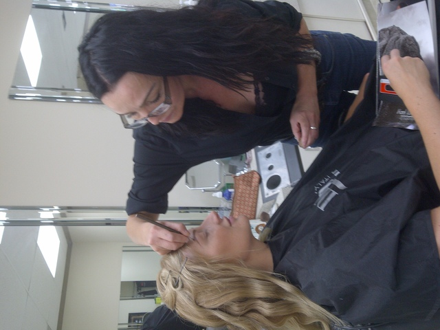 Fatima Muniz Make-up artist and eyebrow designer preparing the most wonderful Model Kate Eaton for the Gemini Awards