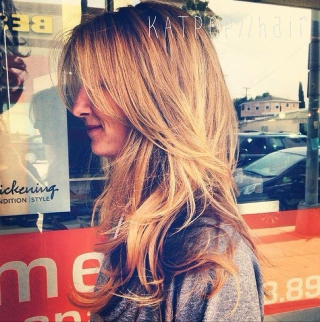 blonde bombshell / highlight / paint / dimension / blow dry