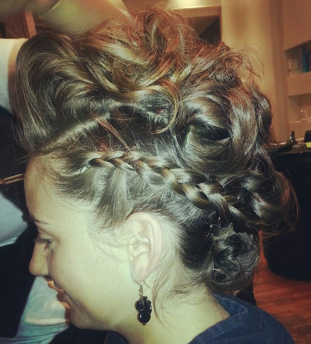 faux mohawk/braid updo