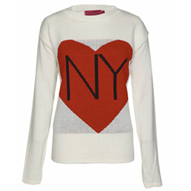 Boohoo Whitney NY Hearts Knit Sweat
