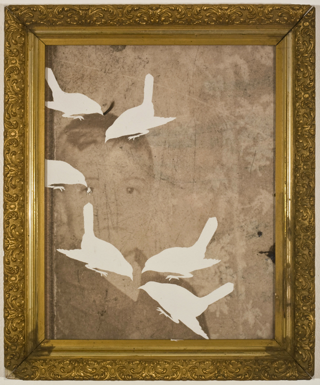 Christopher Russell, Ghost Story (Birds), 2009, scratched digital print, found frame, Luis De Jesus, 900-pix