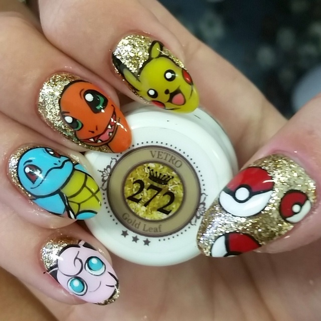 Pokemon gel nail art!