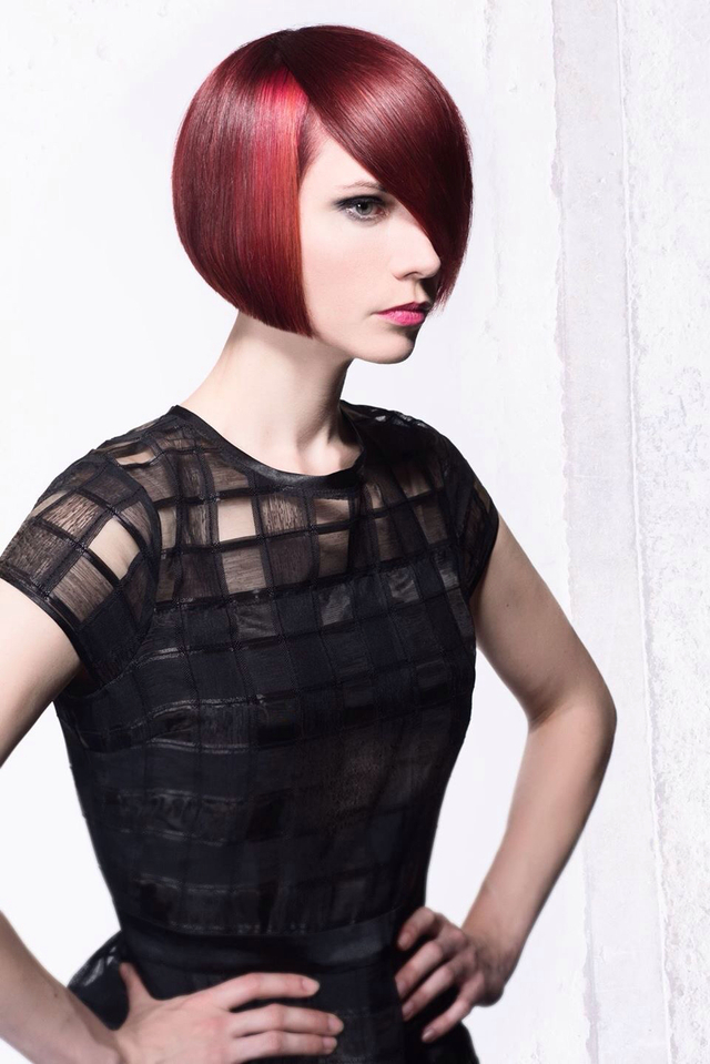 Classic Red bob. Hair cut and color by Katrina Beede.  Photo Nick Berardi.  Model. Sierra Kane