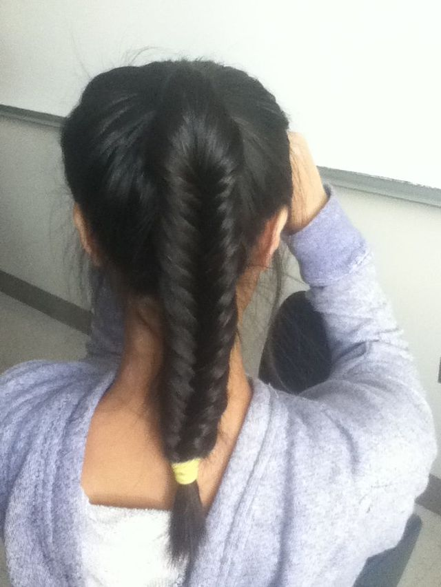 fishtail in a pony tail