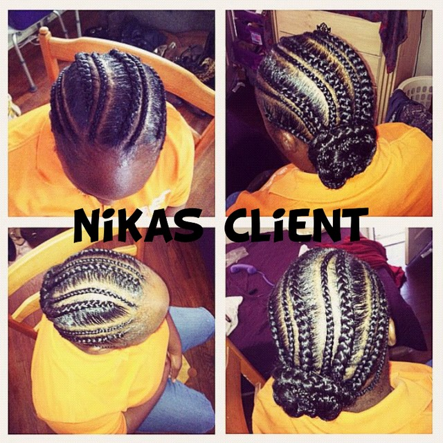 flat braids with bun