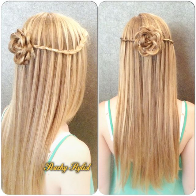 flower and waterfall braid