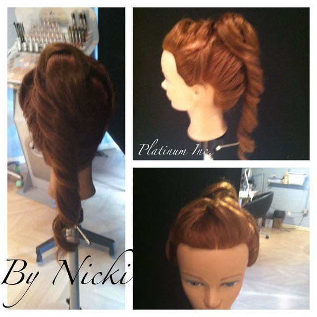 french braid, twists and ponytail