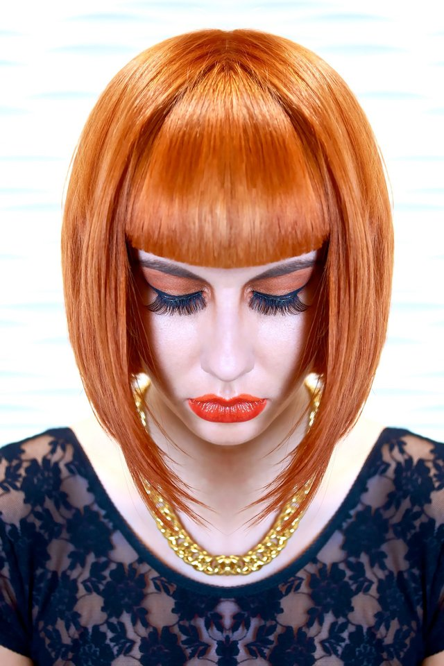 square fringe orange bob