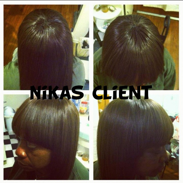 full head weave with full bangs and closed by me