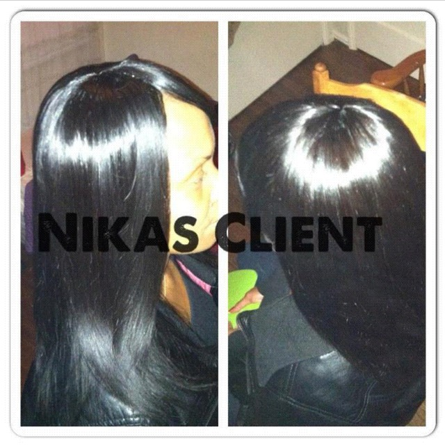 full head weave with side bang