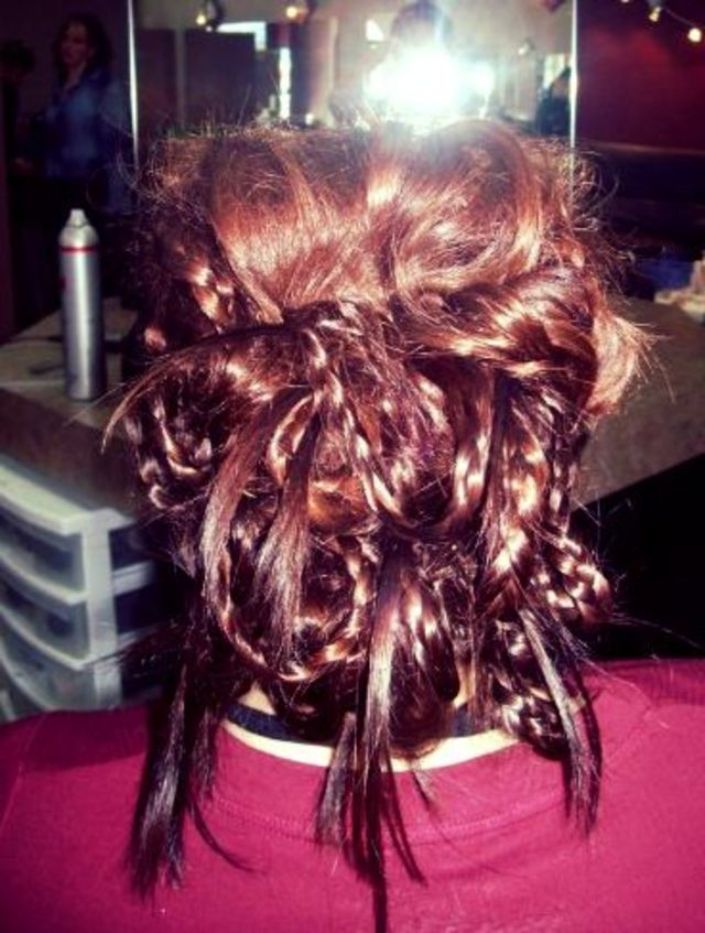 funky up-do with braids and twists!