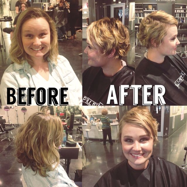 gave this beauty a pixie cut and lightened it up with some sun kissed blonde!