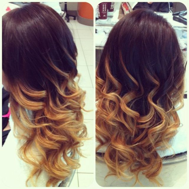 honey ombré and wand curls