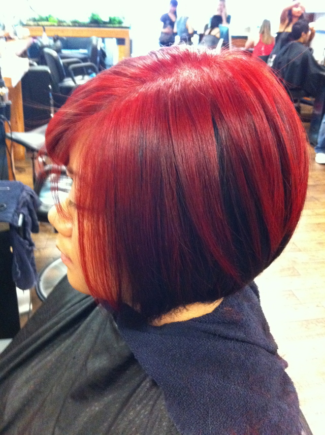 Black & Red Asymmetrical Bob